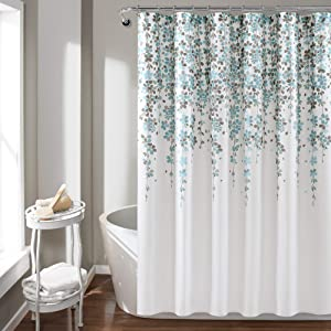 "Lush Decor Weeping Flower Shower Curtain-Fabric Floral Vine Print Design, x 72"", Blue and Gray"