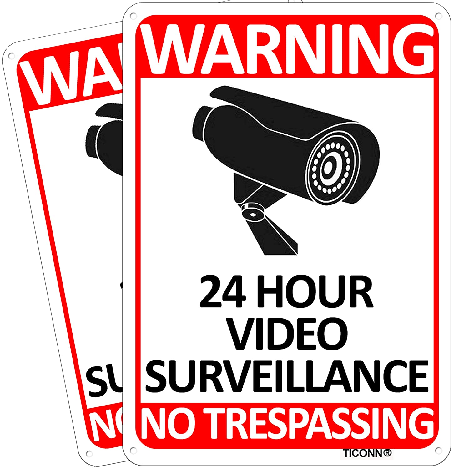 TICONN 2-Pack 24 Hour Video Surveillance Sign, No Trespassing Aluminum Warning Sign, 10''x7'' for CCTV Security Camera - Reflective, UV Protected