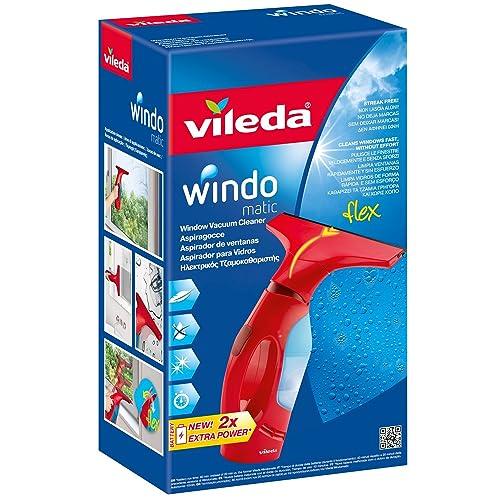 Vileda Windomatic Aspirador de ventanas con labio de goma limpiacristales con cabezal flexible y depósito de agua aspiración vertical y horizontal medidas 17 5x12x32 cm color rojo