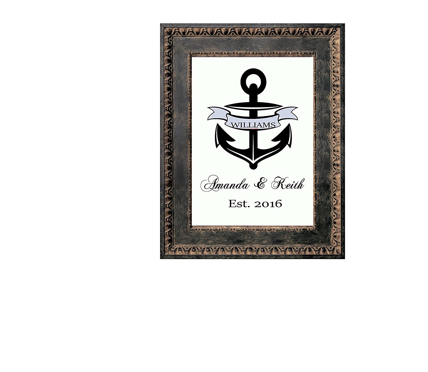 Nautical Anchor Canvas art, Custom Last name and date. Lovely Gift for Wedding or Anniversary. Sailor Theme Decor. Unframed.