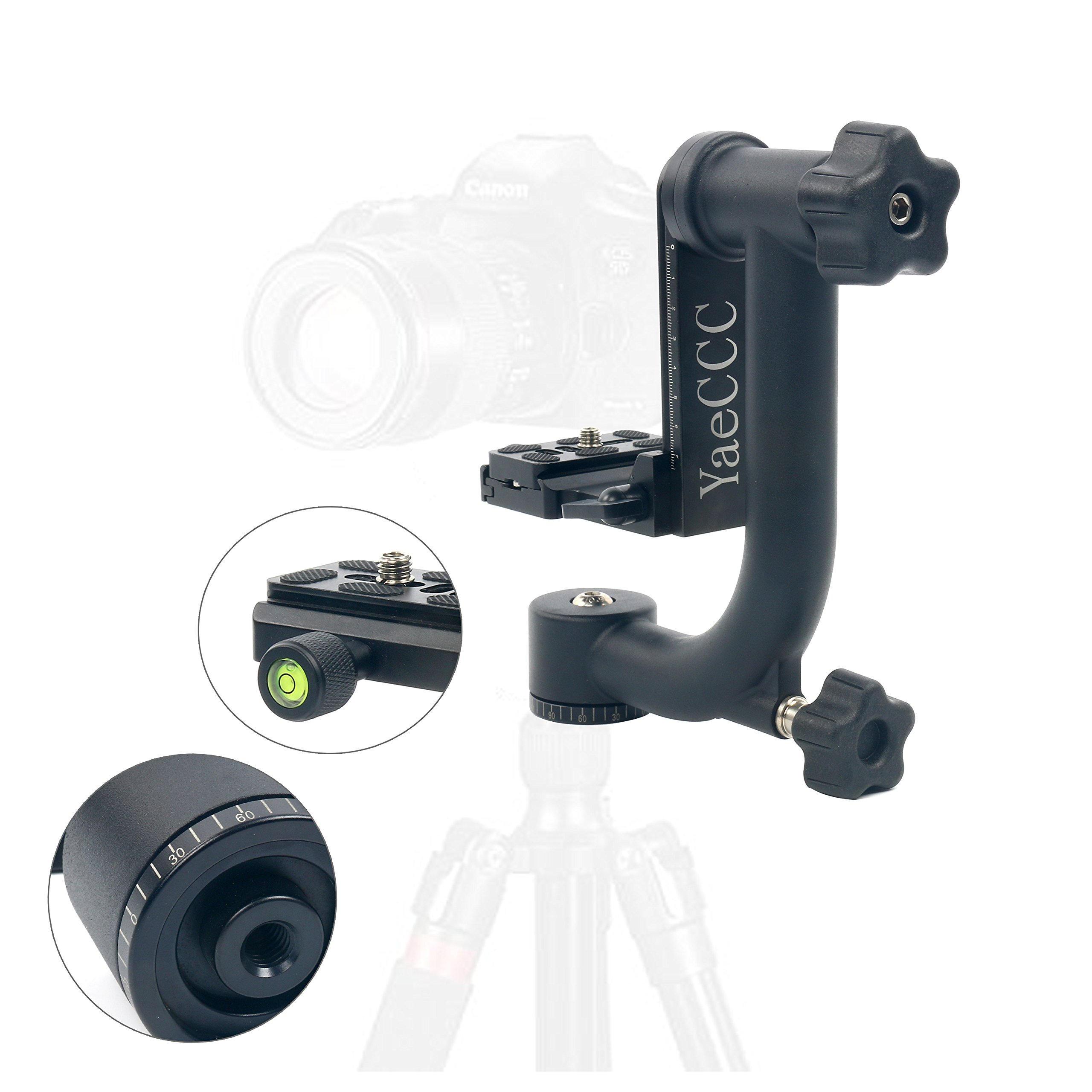 YaeCCC Professional Heavy Duty Metal 360 degree Panoramic Gimbal Tripod Head with Arca-Swiss Standard 1/4'' Quick Release Plate for Digital SLR Cameras up to 30lbs/13.6 kg by YaeCCC