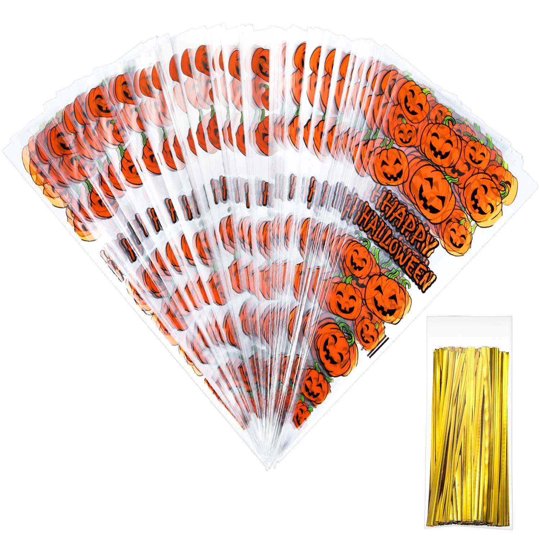 100 Zählt Kürbis Cone Cellophan Taschen mit 100 Stück Gold Twist Ties für Halloween Party Gefallen Tatuo