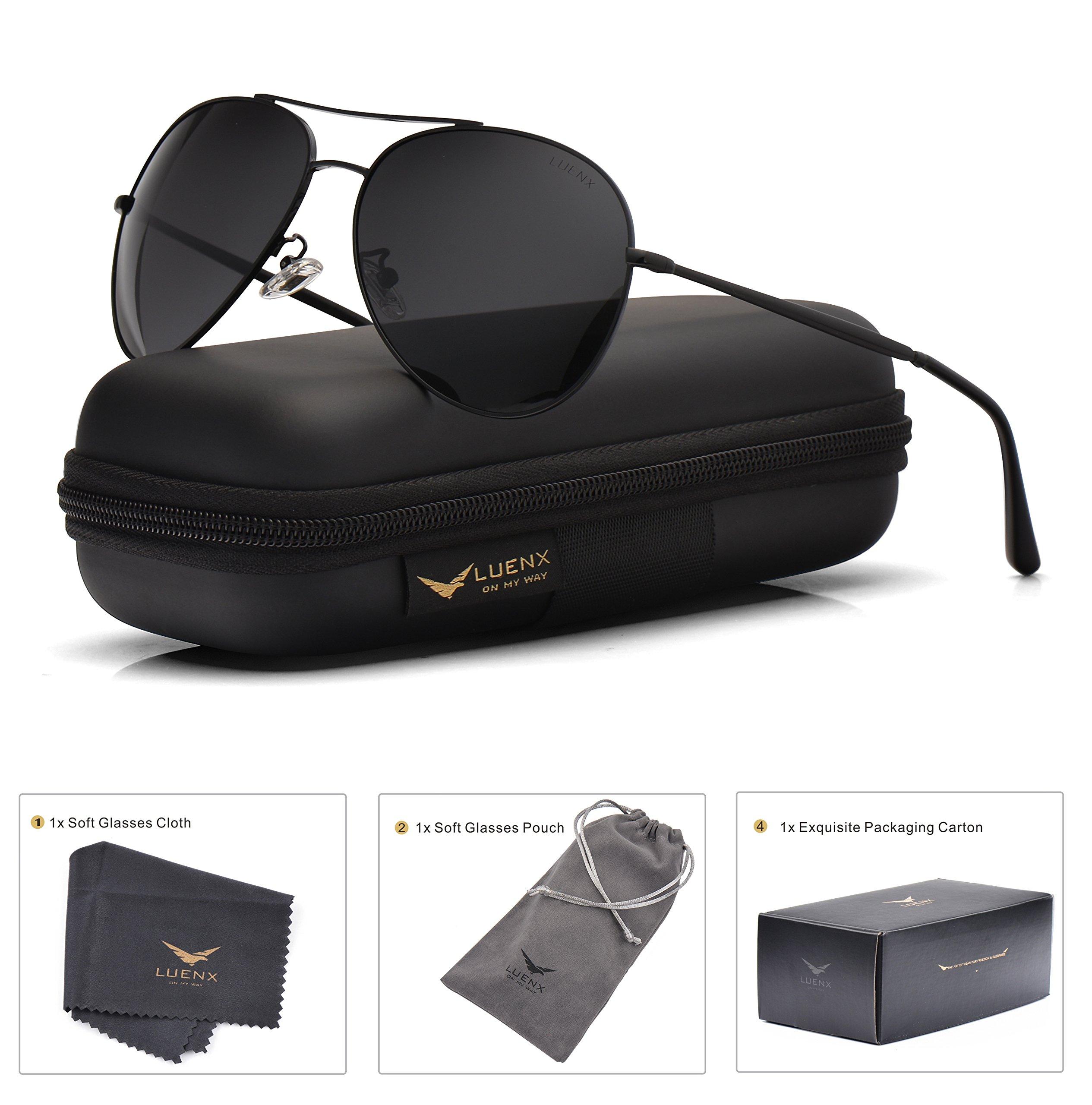 LUENX Aviator Sunglasses Men Women Non-Mirror Polarized UV400 Metal Frame 60MM (9-Black, 60)