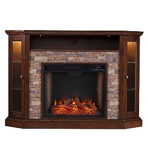 Southern Enterprises Redden Corner Convertible Alexa-Enabled Smart Fireplace with Storage, Espresso