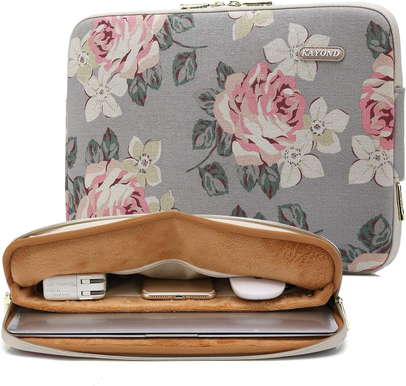 kayond Water-Resistant Canvas 17 Inch Laptop Sleeve-White Rose