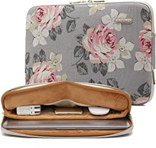 kayond Water-Resistant Canvas 14.1 inch Laptop Sleeve-White Rose