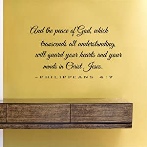 And the peace of God which transcends all understanding will guard your hearts and your minds in Christ Jesus Vinyl Wall Decals Quotes Sayings Words Art Decor Lettering Vinyl Wall Art Inspirational Uplifting