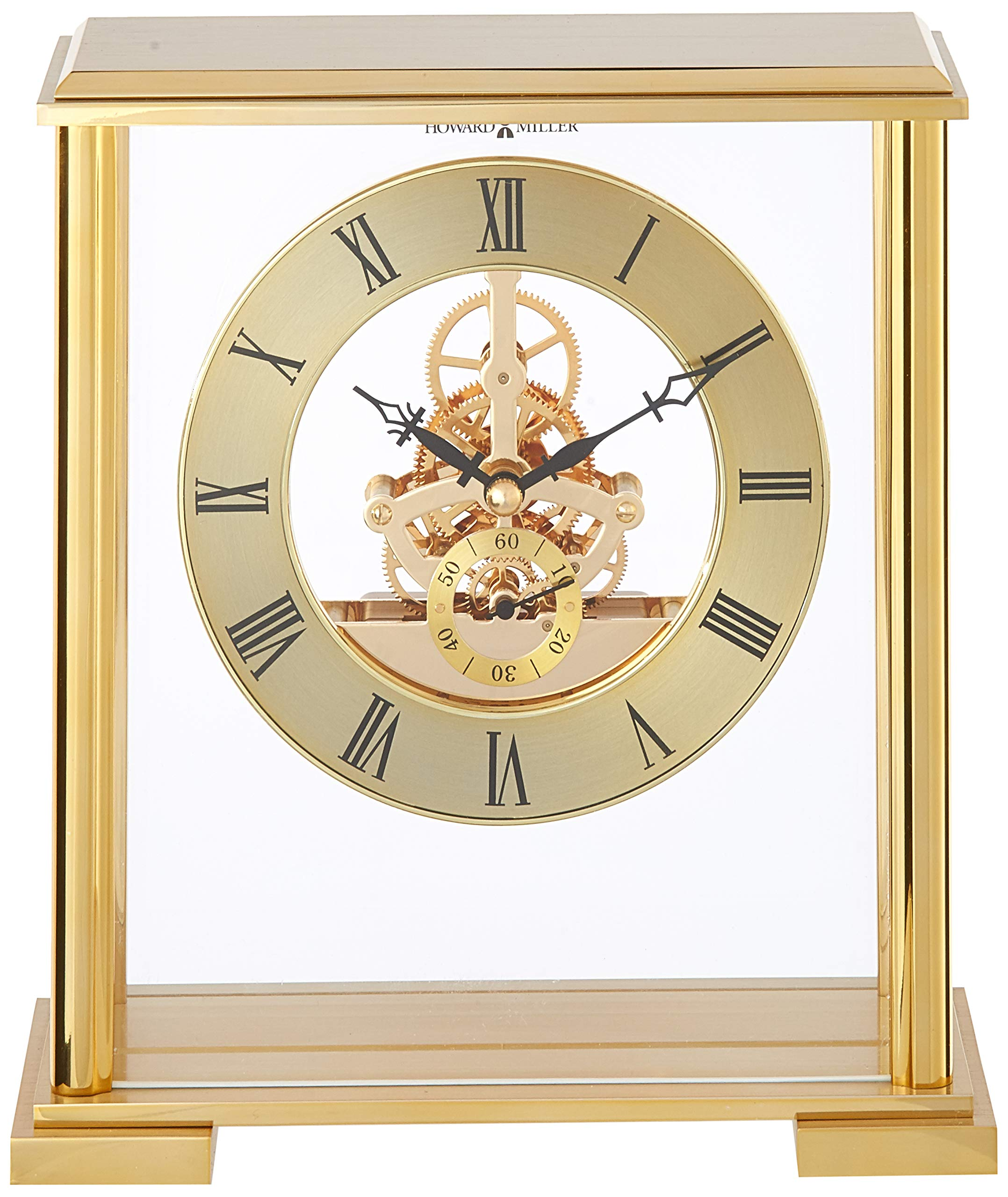 Howard Miller 645-622 Fairview Table Clock - Brushed and polished brass-finished metal table clock with glass front and side panels. The polished brass-finished skeleton movement is suspended by a clear acrylic panel between the front and back glass, so as to appear to float within the case. Circular spun brass-finished numeral ring features black Roman numerals and hands, with a separate seconds track. - clocks, bedroom-decor, bedroom - 81Bho%2Bbt7aL -