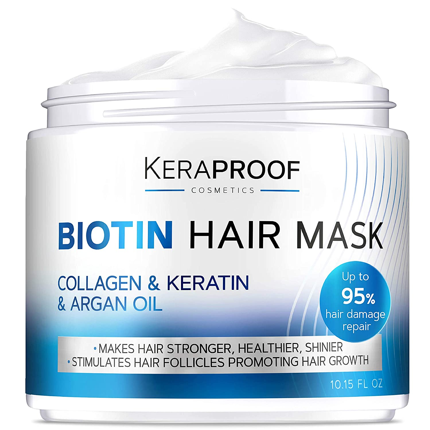 Biotin & Collagen Hair Mask - Keratin Leave In Conditioner for Natural Hair Growth - Deep Care & Repair for Dry, Damaged, Color Treated, Wavy & Curly Hair - Hair & Scalp Treatment for Women - 10 Oz