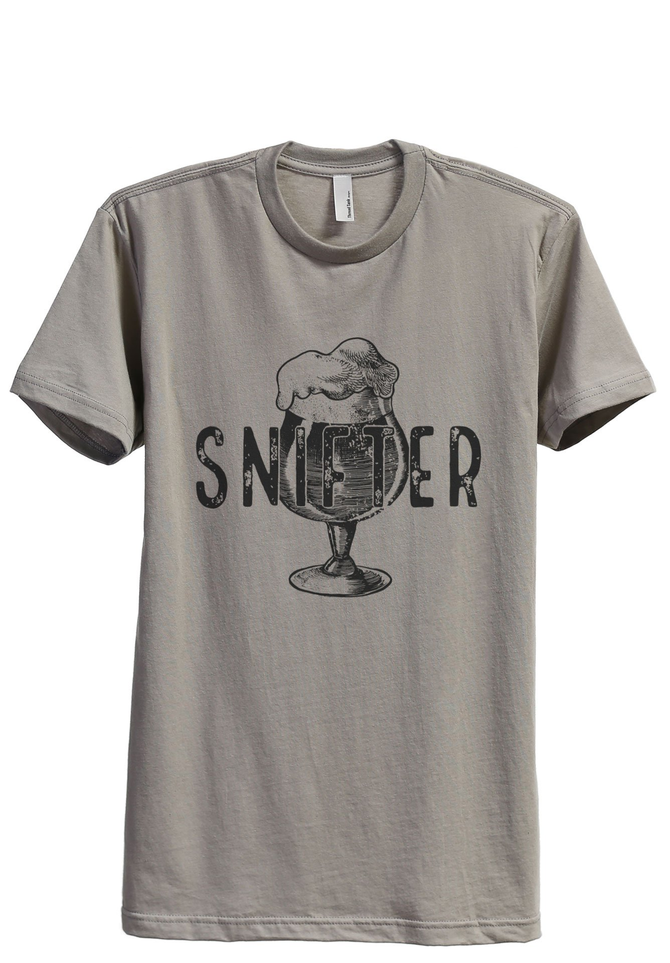 Thread Tank Snifter Glass Sketch Men's Modern Fit T-Shirt Printed Graphic Tee Military Grey Large