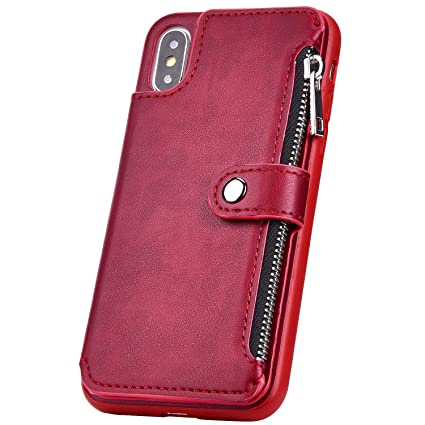 Custodia Iphone X Portafoglio Cerniera Carta Cover Iphone X Pelle