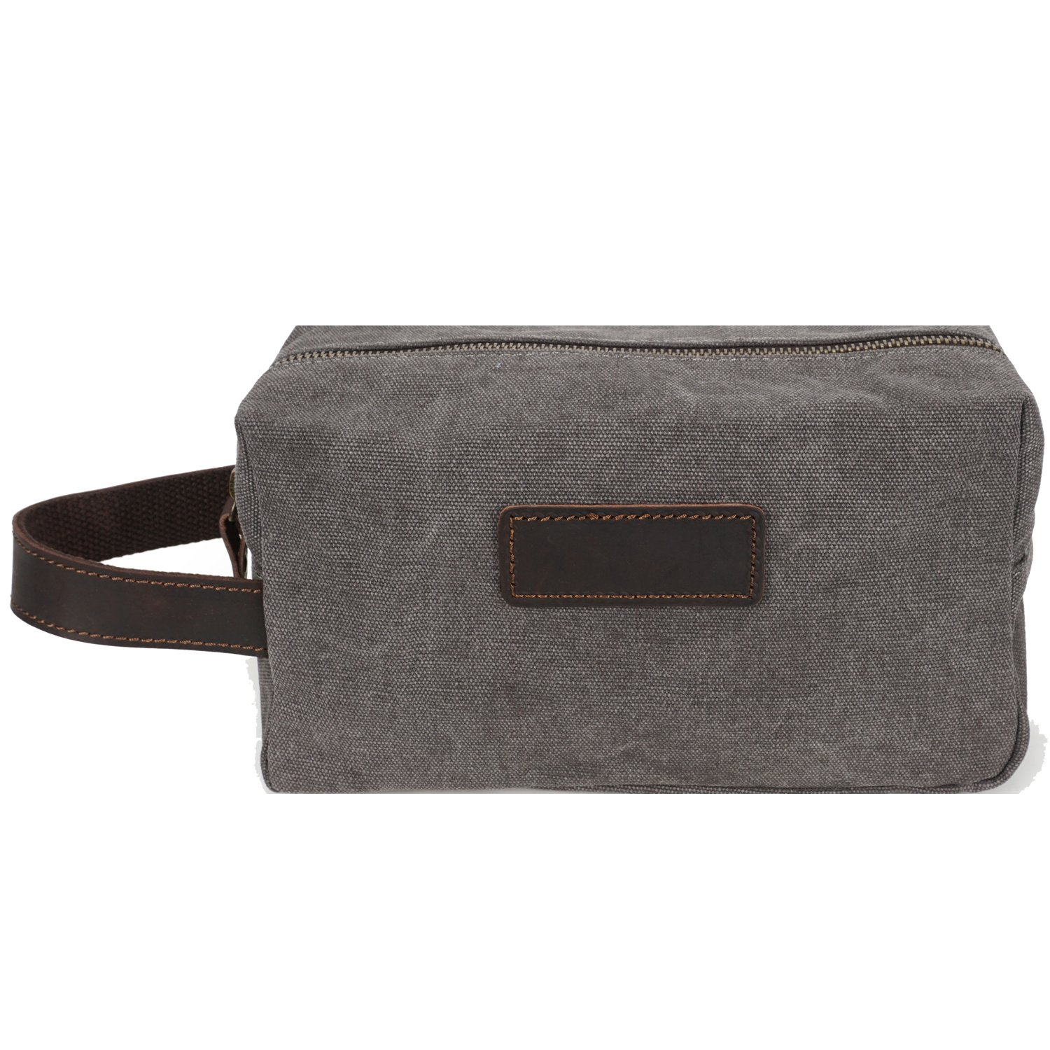 AIDERLY Vintage Travel Toiletry Bag with Carry Strap Canvas Shaving Bag Dopp Overnight Wash Kit Cosmetic Makeup Bag for Men Grey