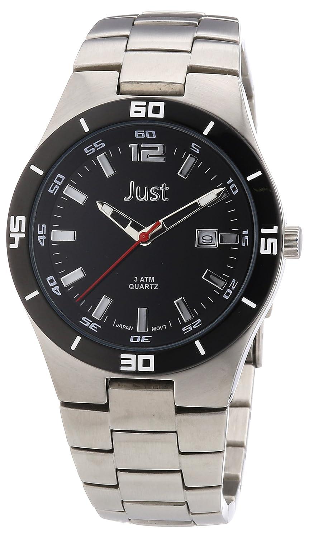 Just Watches 48-S3302-BK - Reloj analógico de cuarzo para hombre, correa de acero inoxidable color negro