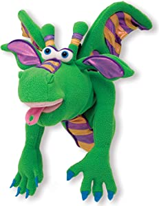 Melissa & Doug Smoulder the Dragon Puppet with Detachable Wooden Rod (Puppets & Puppet Theaters, Great Gift for Girls and Boys - Best for 3, 4, 5 Year Olds and Up)