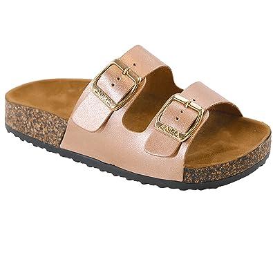 846e4900dacc96 Open Toe Buckle 2 Strap Thong Slide Sandals Girl (Toddler Little Kid)  Rosegold