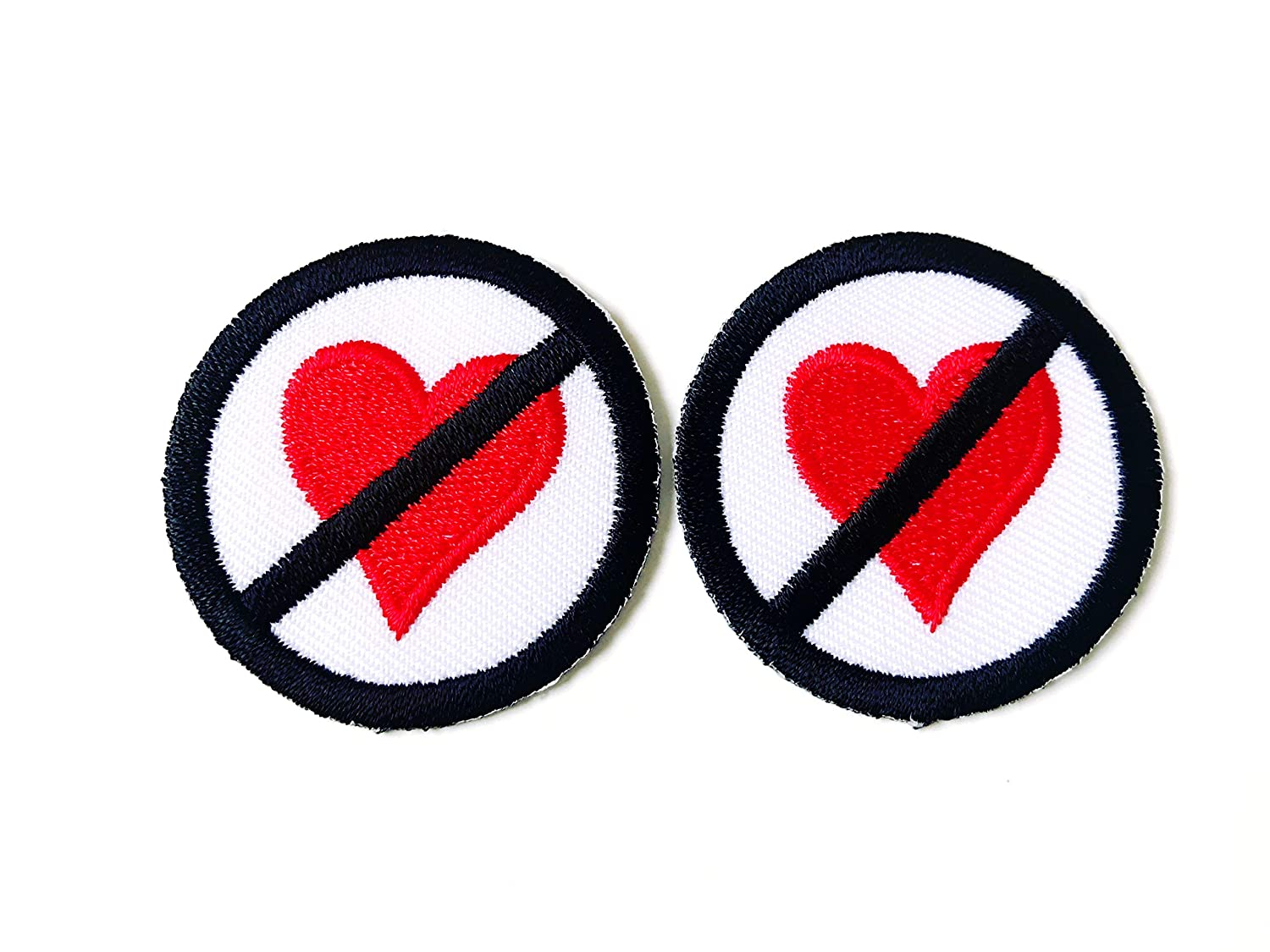 DO NOT DON/'T NO LOVE SIGN LOGO Round Embroidered Iron on Patch Free Postage