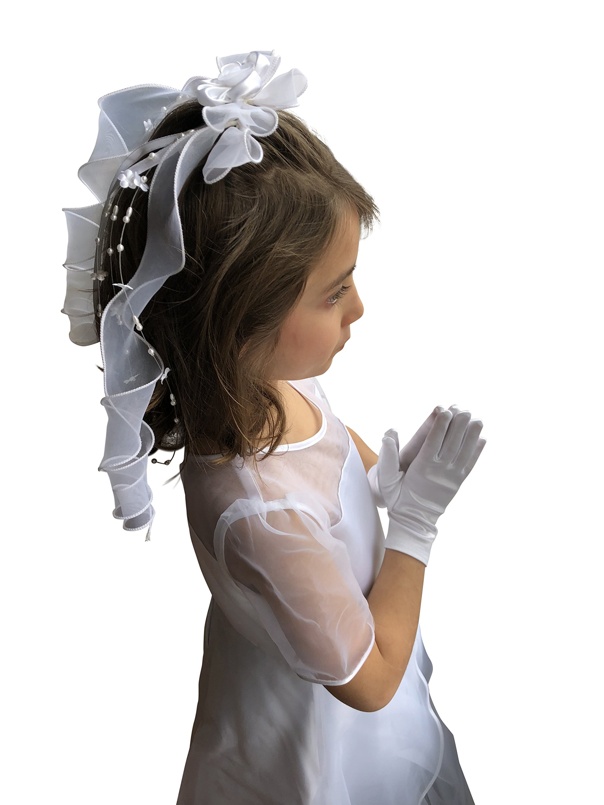 First Communion Veil White Foral Ribbon with Pearl from VGI by VGI (Image #7)
