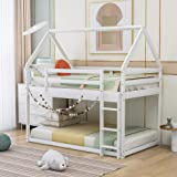 LZ LEISURE ZONE Twin Ovre Twin Bunk Bed, House Bed with Ladder, Twin Over Twin Low Bunk Bed for Kids/Teens, No Box Spring Nee