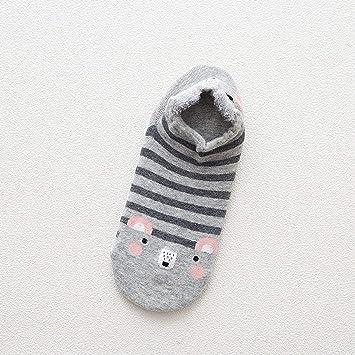 Dooret Otoño Transpirable Kawaii Cartoon Mujeres cómodos Calcetines de algodón Antideslizante Chicas Adolescentes Zapatillas Calcetines Cortos de Tobillo: ...