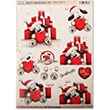 Craft Creations Natale 3d Decoupage - dcd636 Puppy Love - Simpatico Cane in Natale Cappello con cuore e presenta - Step by Step, formato A4, 210 x 297 mm
