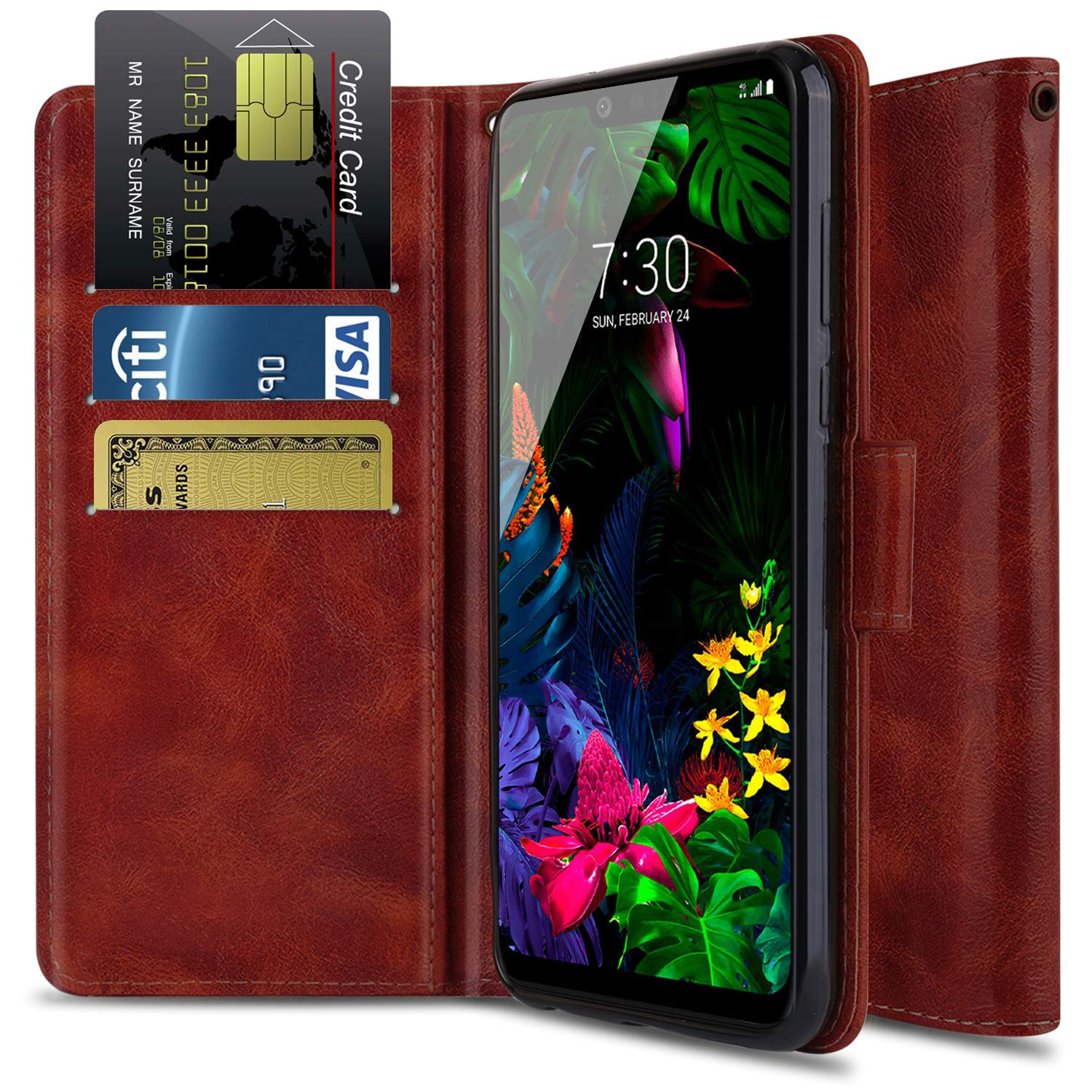 ba96e11cb5ae Wallet Case for LG G8 ThinQ, LG G8 Case OTOONE [Flip Folio] Heavy Duty  Shock Proof PU Leather Wallet Card Slot Protective Phone Cover with  Kickstand ...