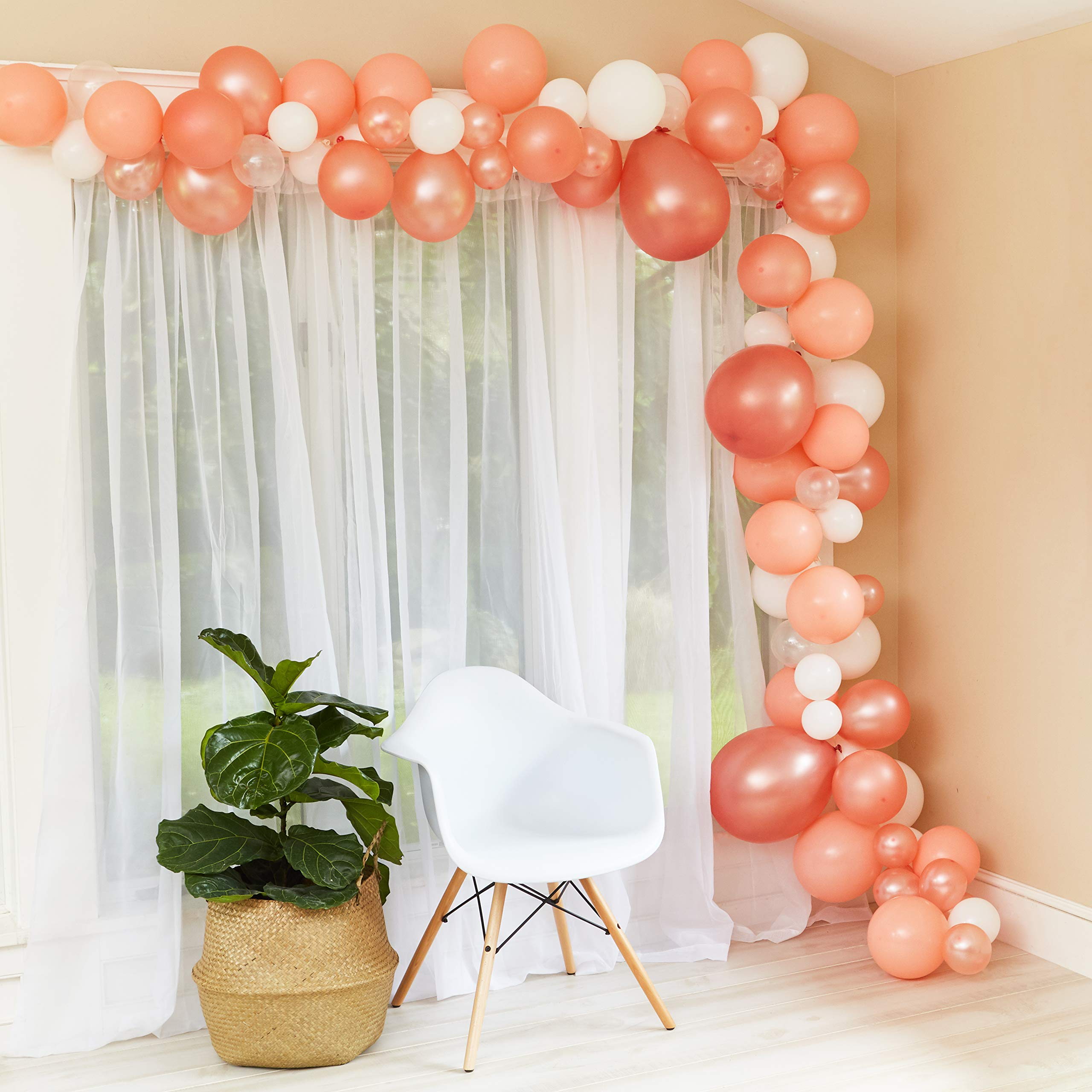Balloon Garland Arch Kit - Baby Shower/Wedding/Birthday/Graduation/Party/Kitchen/Bachelorette Decorations - Rose Gold/Peach Confetti Balloons Backdrop Decor - Air Pump Included - Indoor/Outdoor