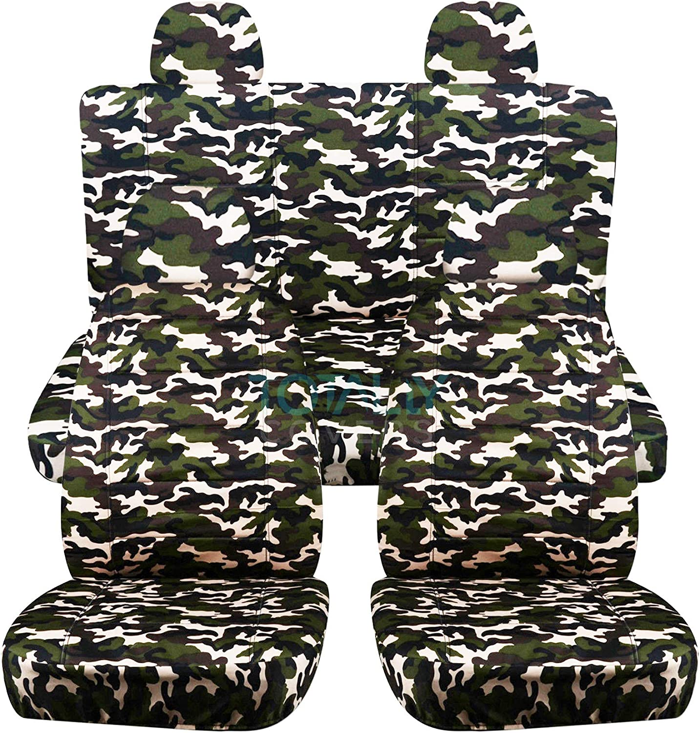 Totally Covers Camouflage Car Seat Covers w 4 Semi-Custom Fit Headrest Covers: Blue Camo 22 Prints Will Make Fit Any Car//Truck//Van//RV//SUV 2 Front + 2 Rear Full Set