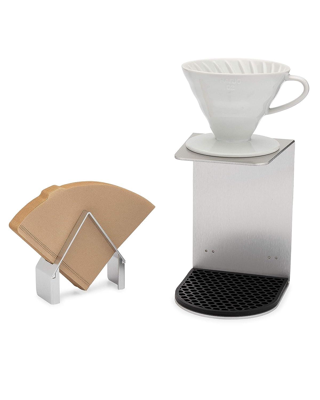 取り外し可能コーヒーフィルターホルダー付きポアオーバードリッパーステーション 100%リサイクル可能 丈夫で使いやすい Hario V60 Kalita Wave Drip Coffee Makers & Hario V60フィルター用   B07H9HFSBJ