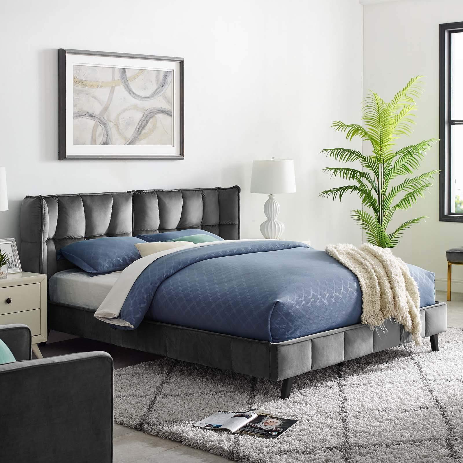 Modway MOD-6081-GRY Makenna Queen Upholstered Velvet Platform Bed, Gray