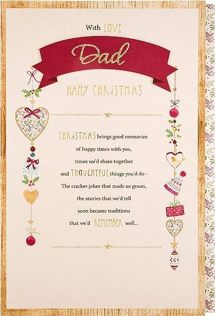 Carte De Noël Pour Papa Avec Poème En Forme De Cœur Amazon