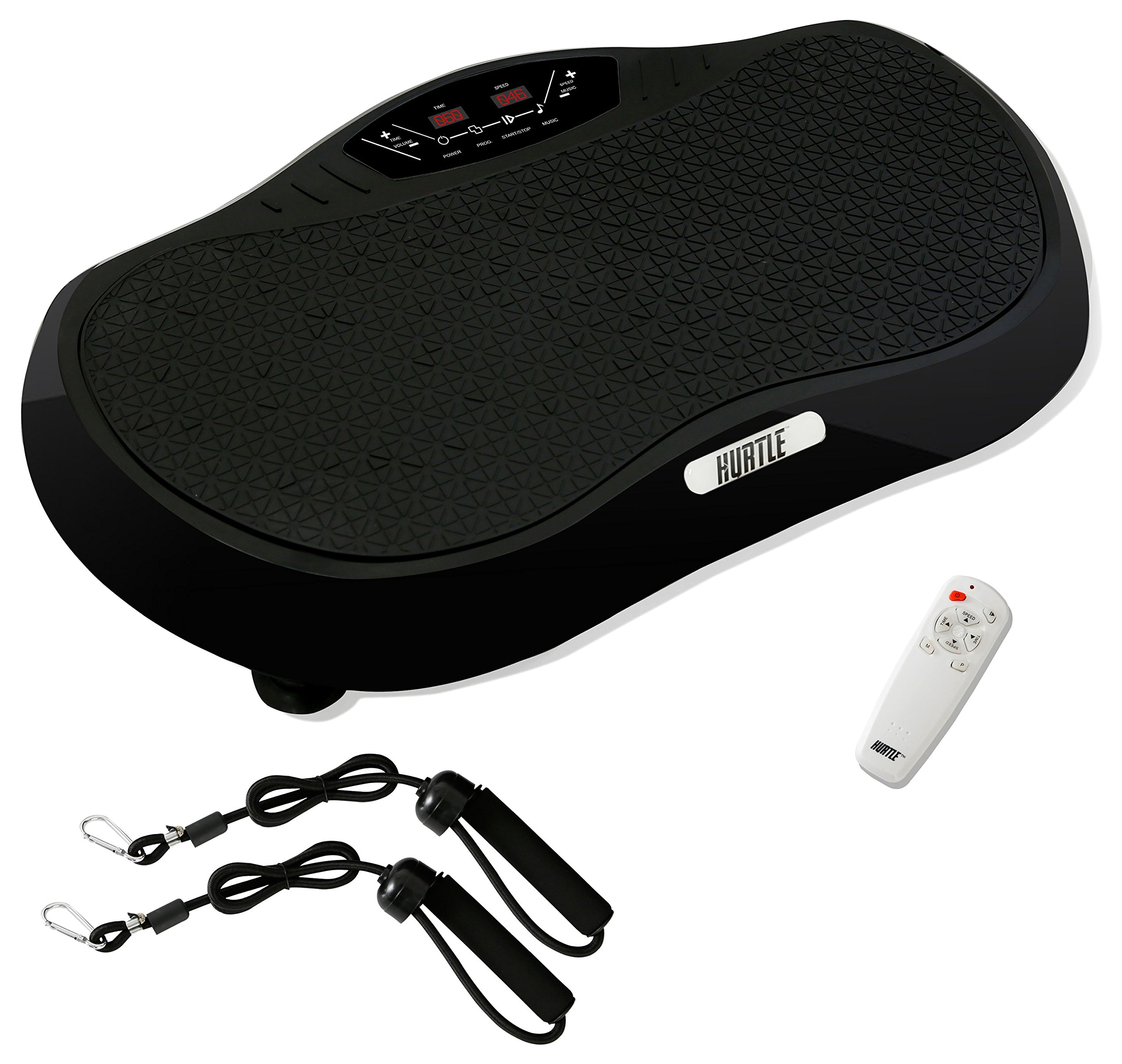 Hurtle Crazy Fit Vibration Fitness Machine - Anti-Slip Vibrating Platform Exercise & Workout Trainer, with Built-in Bluetooth Speakers, Ideal for All Body Types & Age Groups. (HURVBTR35BT)
