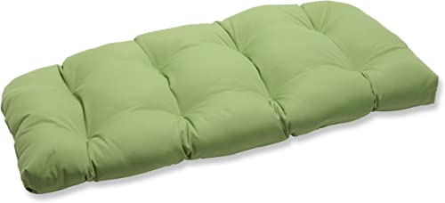 Pillow Perfect Indoor Outdoor Wicker Loveseat Cushion with Sunbrella Canvas Ginkgo Fabric, 44 in. L X 19 in. W X 5 in. D,Green
