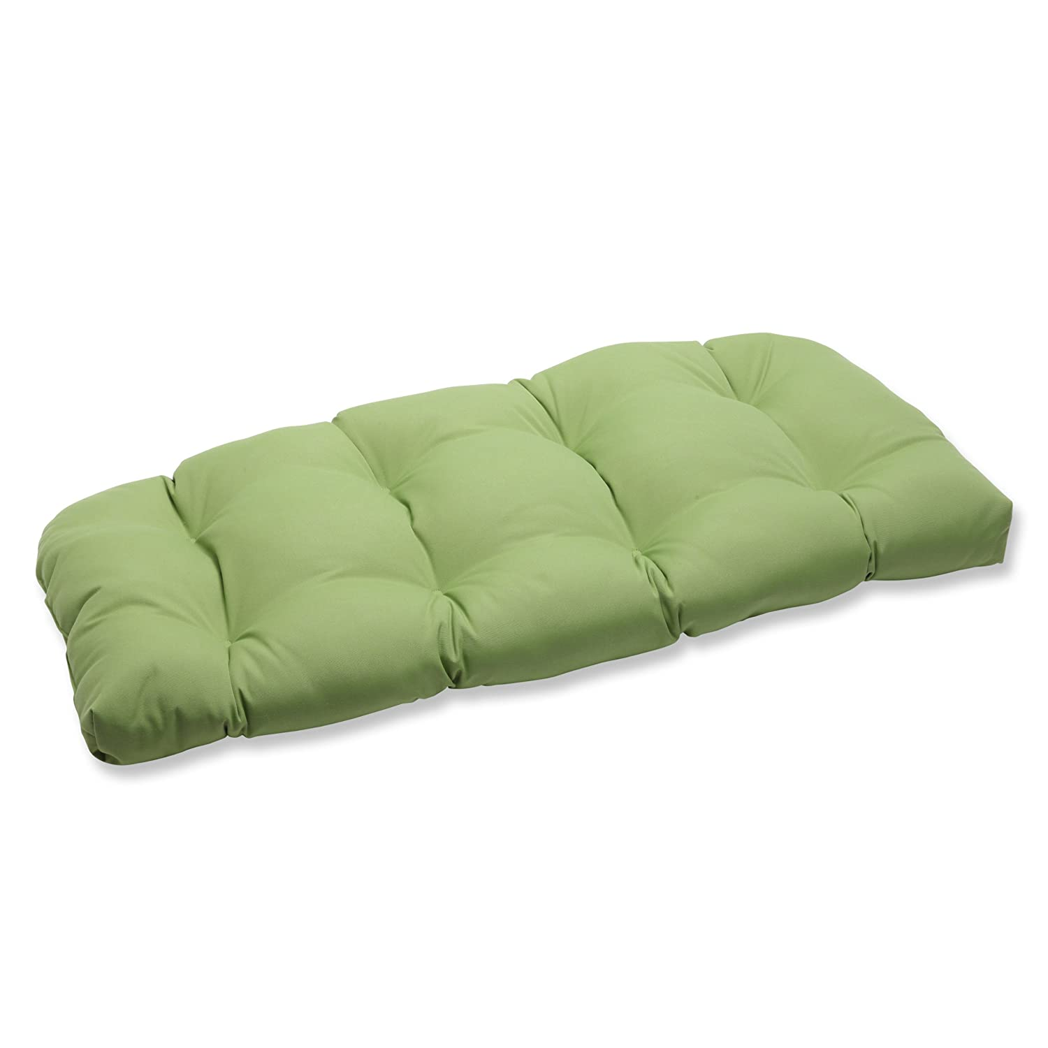 Pillow Perfect Indoor Outdoor Wicker Loveseat Cushion with Sunbrella Canvas Ginkgo Fabric, 44 in. L X 19 in. W X 5 in. D