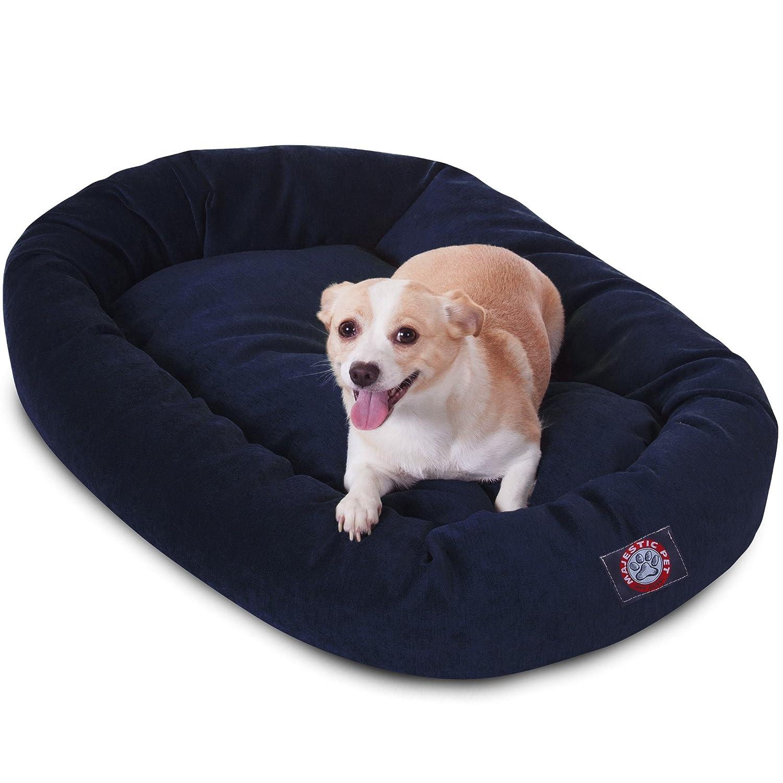 Navy 32-Inch Navy 32-Inch Majestic Pet 32-Inch Navy Micro-Velvet Bagel Dog Bed