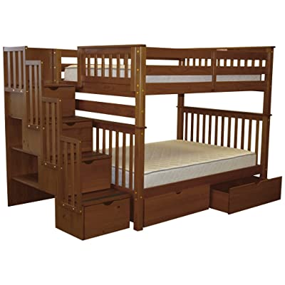 Bedz King Stairway Bunk Beds Full over Full with 4 Drawers in the Steps and 2 Under Bed Drawers, Espresso: Kitchen & Dining