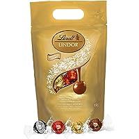 Lindt Lindor Bolsa Surtida 1Kg Bombones de Chocolate con Leche, Negro, Blanco y Avellana