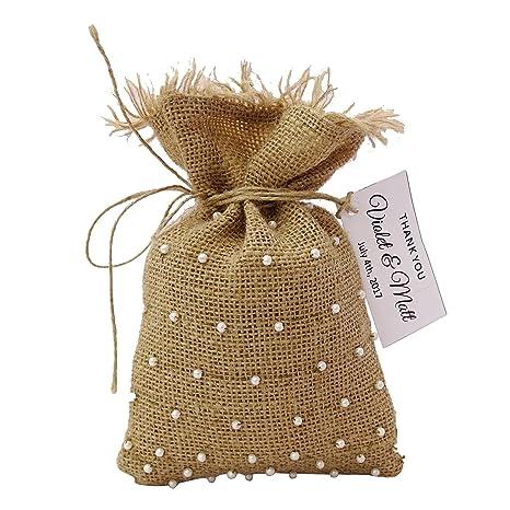 20 Pequeño arpillera bolsos del favor de la boda Bolsas Baja Con personalizada Etiquetas del favor de partido moldeado de la bolsa con cordón