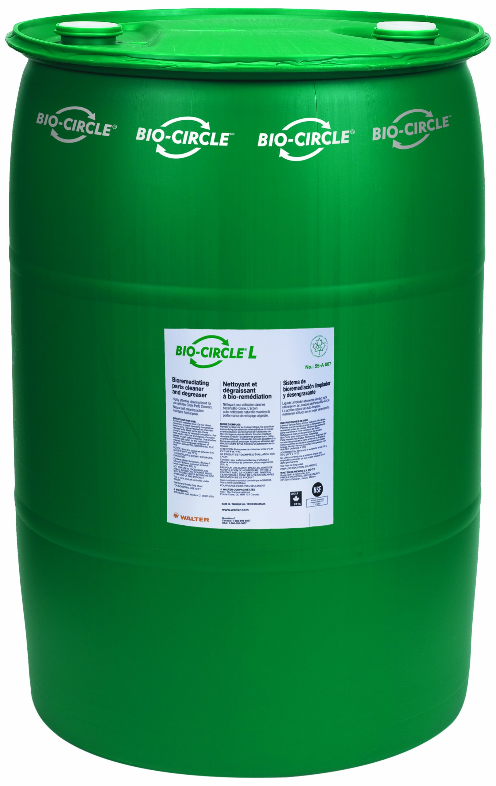Walter 55A008 Bio-Circle L Industrial Parts Cleaner and Degreaser, 55 gallon drum