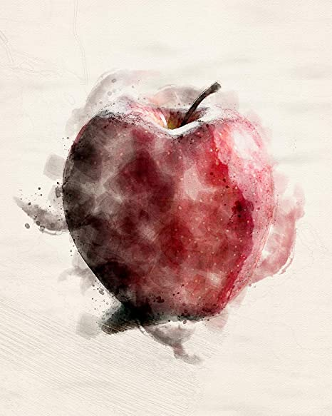 Amazon Com Apple Wall Decor Art Print On An Offwhite Background 8x10 Unframed Fruit Themed Digitized Watercolor Great Gift For Relatives And Friends To Decorate Their Kitchens Dining Rooms