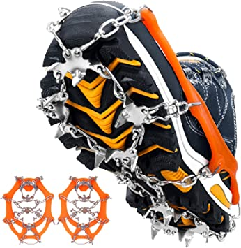 Rajvia Crampones 19 Dientes Tacos de tracción Nieve y Hielo Tracción para Invierno Deportes Montañismo Escalada Caminar Alpinismo Cámping Acampada ...