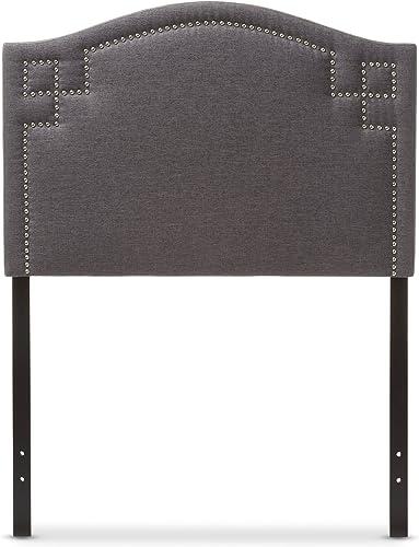 Baxton Studio Aure Modern and Contemporary Dark Grey Fabric Upholstered Headboard