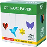BUBU Origami Paper 1000 Sheets 6 Inch Square Double Sided Color 20 Vivid Colors for Beginners Trainning and School Craft…