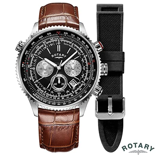 725b720d3db ROTARY GS00100 04 BRN MENS CHRONOGRAPH PILOT WATCH w  DATE  Amazon.co.uk   Watches