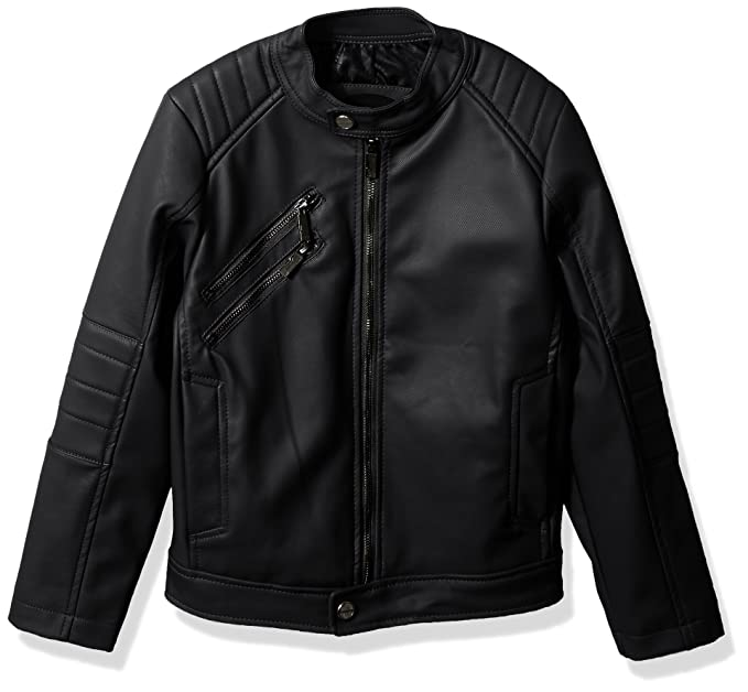 Amazon.com: Urban Republic Boys Texture Faux Leather Jacket ...