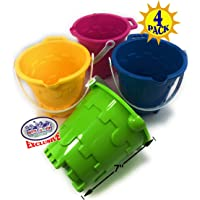 "Matty's Toy Stop Beach Gear 7"" Plastic Castle Mold Sand Buckets (Pails) with Easy Pour Spout and Handle Blue, Pink, Green & Yellow Party Set Bundle - 4 Pack"