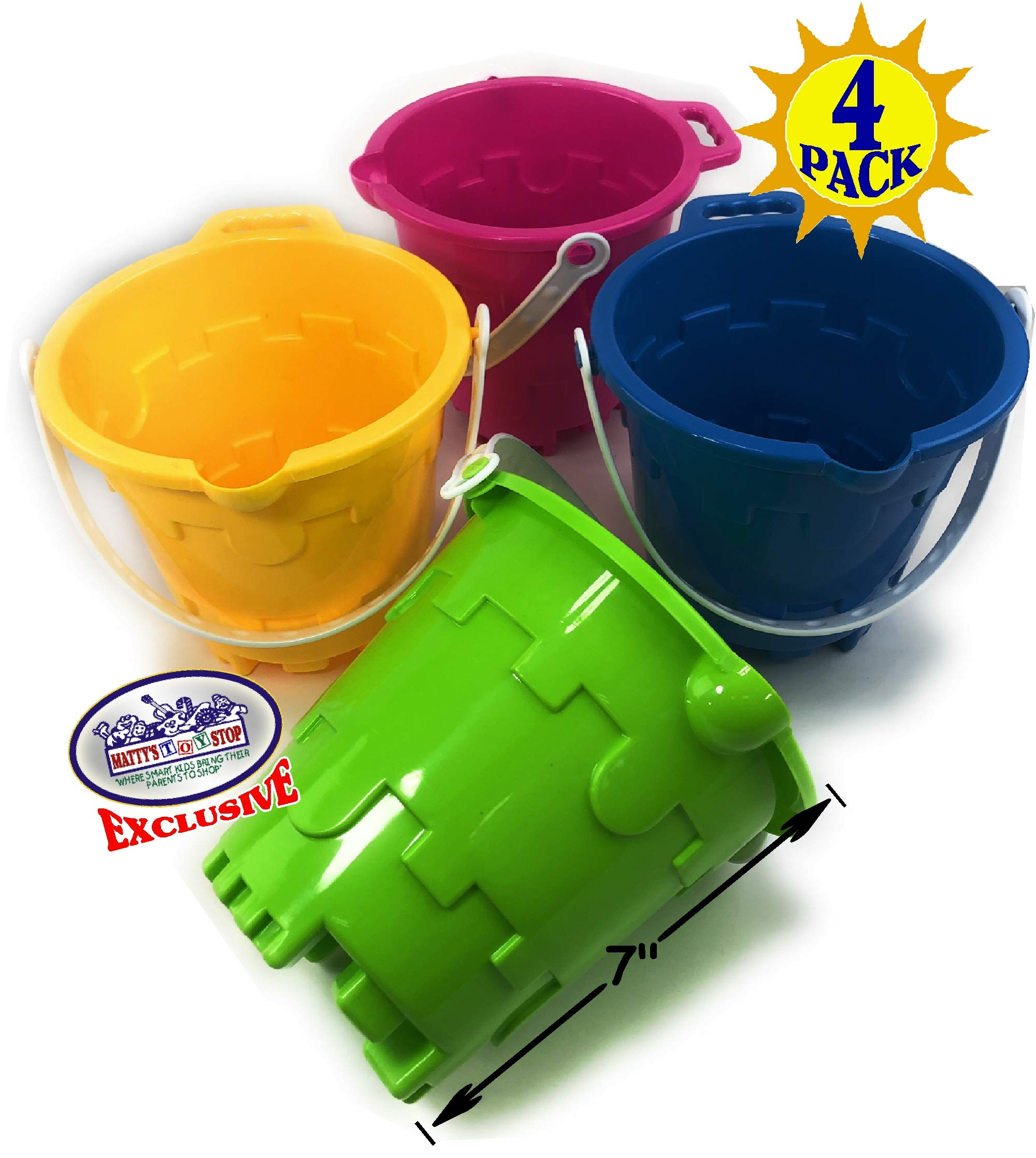 Matty's Toy Stop Beach Gear 7'' Plastic Castle Mold Sand Buckets (Pails) with Easy Pour Spout and Handle Blue, Pink, Green & Yellow Party Set Bundle - 4 Pack by Matty's Toy Stop