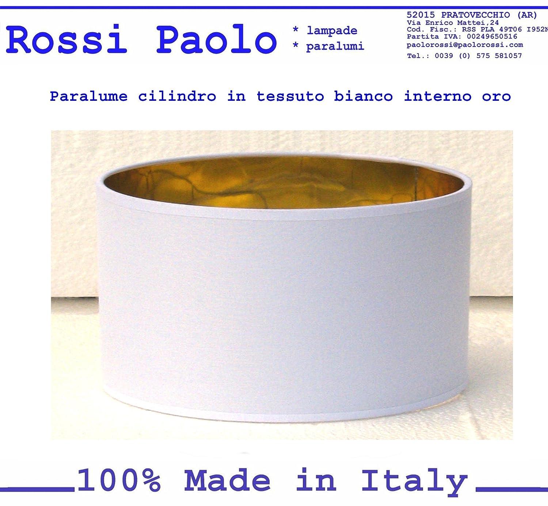 Paralume coprilampada in tessuto bianco interno oro - produzione propria - made in Italy (cilindro, cm 40) Paolo Rossi