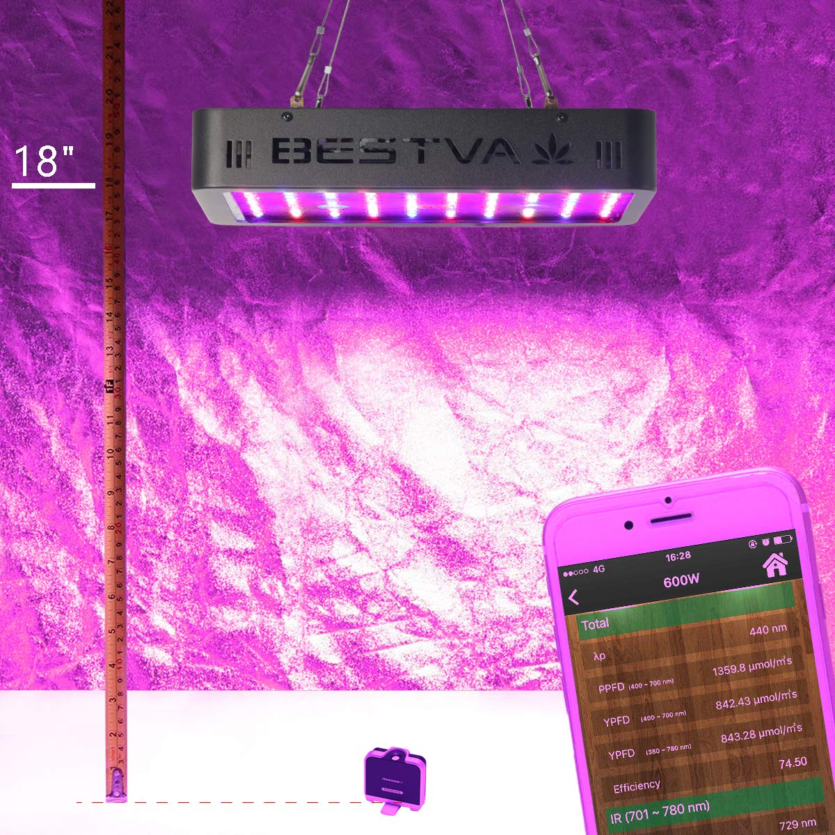 BESTVA 600W LED Grow Light Full Spectrum Dual-Chip Growing Lamp for Hydroponic Indoor Plants Veg and Flower by BESTVA (Image #4)