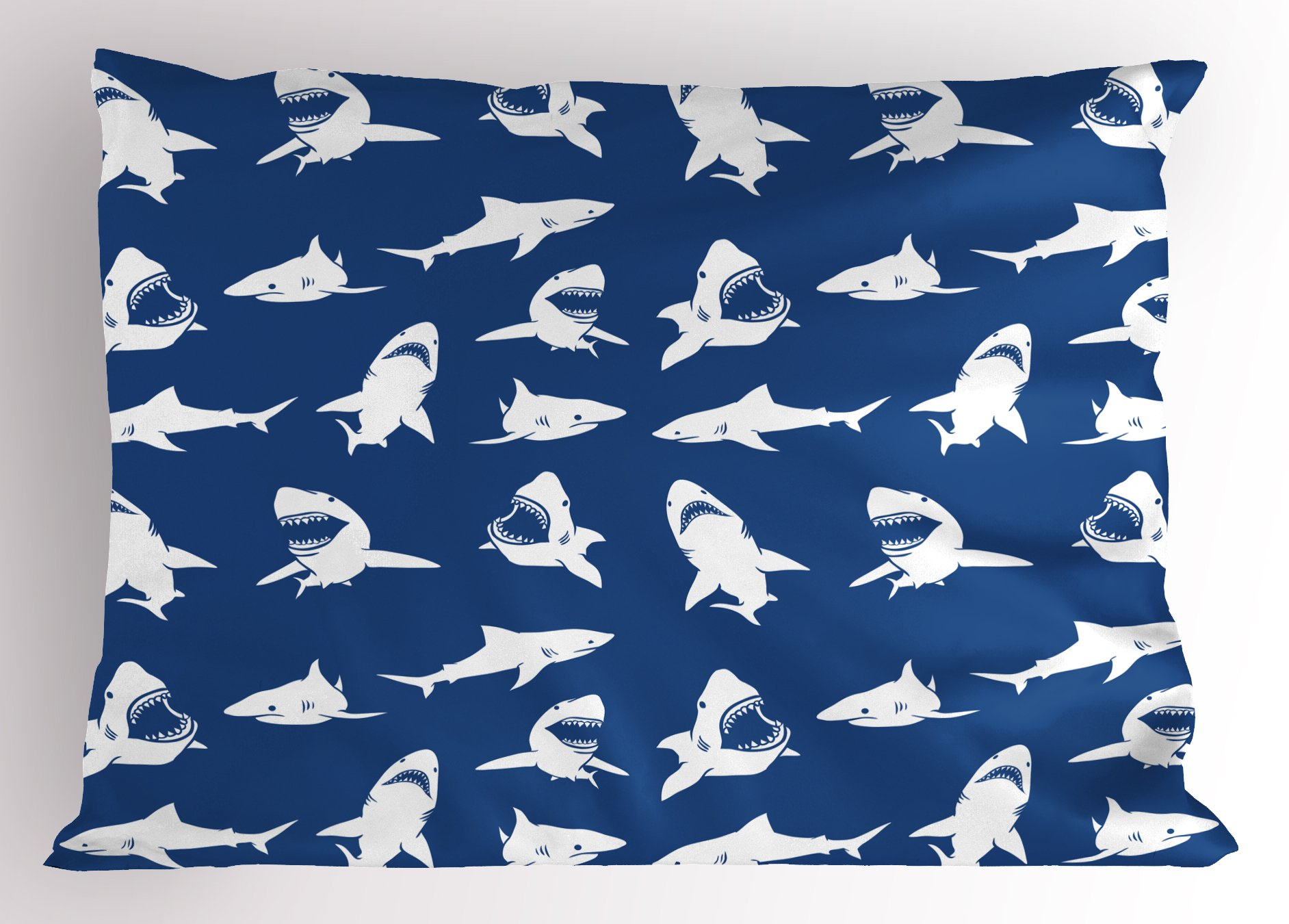 Ambesonne Shark Pillow Sham, Shark Pattern with Various Gestures Have A Bite Danger Humor Nautical Design, Decorative Standard Queen Size Printed Pillowcase, 30 X 20 inches, Violet Blue White
