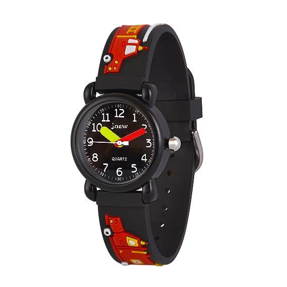 WOLFTEETH Analog Niños School Day Reloj de Navidad con Segunda Mano Cool Water Face pequeño Deporte al Aire Libre Reloj Camion de Bomberos Negro 308102: ...